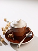 A cup of cappuccino with milk froth