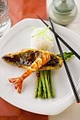 Shrimp tail on asparagus