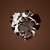 A crushed chocolate-coated marshmallow