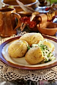 Jacket potatoes with cottage cheese
