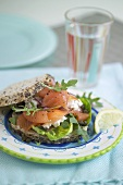Cottage cheese and smoked salmon sandwich