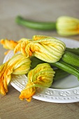 Courgette flowers on a plate