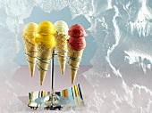 Mango, raspberry, apricot and peppermint ice creams in cones