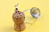 Sektkorken mit Radrennfahrer
