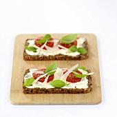 Tomatoes, Parmesan and basil on wholegrain bread