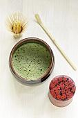 Matcha (Japanese green tea), tea whisk, tea caddy, teaspoon