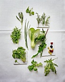 An assortment of herbs and leafy vegetables