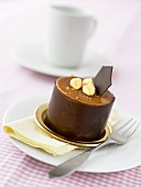 Small chocolate cake with nuts