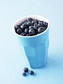 Blueberries in a pottery beaker