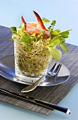 Salad of alfalfa sprouts with crab claw