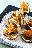 Clams with seaweed butter and orange zest