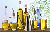 Olive oil in an assortment of bottles