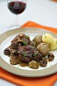 Coq au vin (Chicken in red wine sauce)