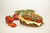 Wholemeal cheese sandwich with cress and peppers