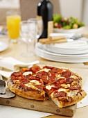 Spicy salami pizza