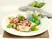Enchiladas with vegetable filling