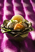 Shellfish with boiled egg and croutons