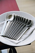 Spoons and forks with napkin on a plate