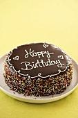A chocolate birthday cake