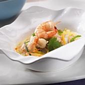 Shrimp soup with julienne vegetables