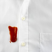 Blob of ketchup on white shirt