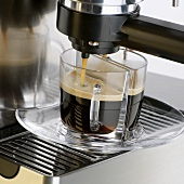 Espresso running into two cups