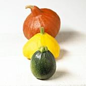 Round courgette, patty pan squash and Hokkaido squash