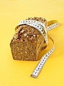 Wholemeal bread with tape measure