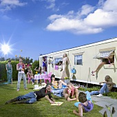 Camping-Party im Freien