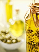 Herb oil and olives
