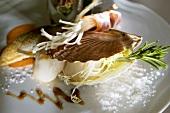 Steamed scallops with enoki mushrooms
