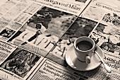 An espresso on an Italian newspaper