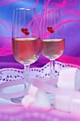 Two glasses of sparkling wine for Valentine's Day