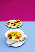 Potato and vegetable soup with curry and mushroom omelette