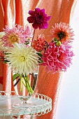 Dahlias in a glass vase
