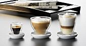 Espresso, cappuccino and latte macchiato