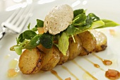 Fried potatoes with mackerel mousse and salad