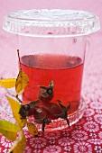 Rose hip tea in a glass