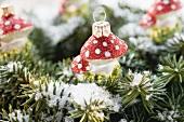 Fly agaric Christmas tree ornaments