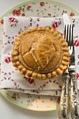 Meat pie on fabric napkin