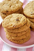 Chocolate chip cookies, in piles