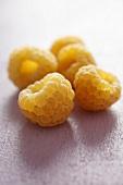 Yellow raspberries on mauve background