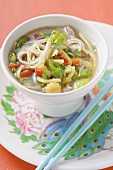 Noodle soup with vegetables and coriander leaves (Asia)
