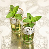 Peppermint tea in two Middle Eastern glasses
