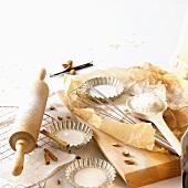 Various baking ingredients and utensils