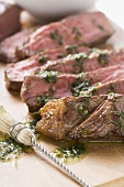 Beef steak (sliced) with herb butter