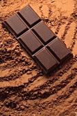 Chocolate on cocoa powder