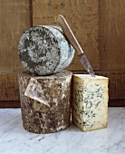 Three French blue cheeses