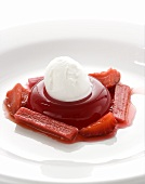 Blood orange jelly with rhubarb & strawberry sauce & ice cream
