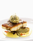 Barramundi with fennel and aubergine mousse